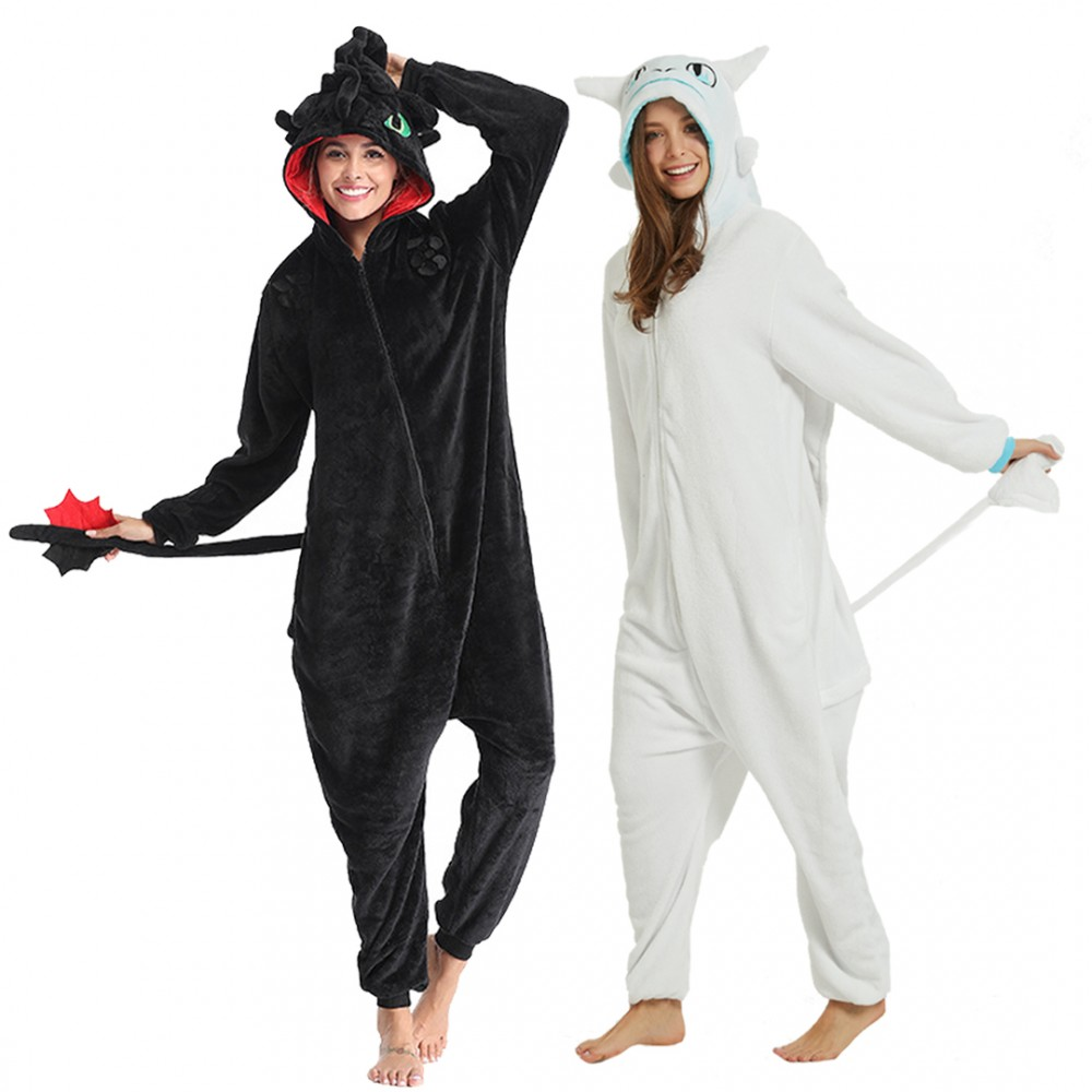 Light Fury & Toothless Onesie Pajamas Costume for Adults How to Train Your Dragon Onesies Toothless