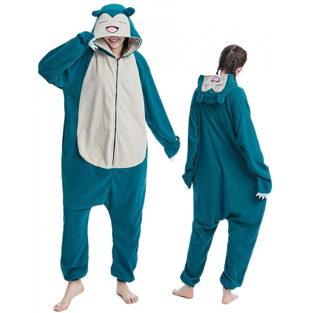 Womens & Mens Snorlax Onesie for Adults Pokemon Costumes Zip Up