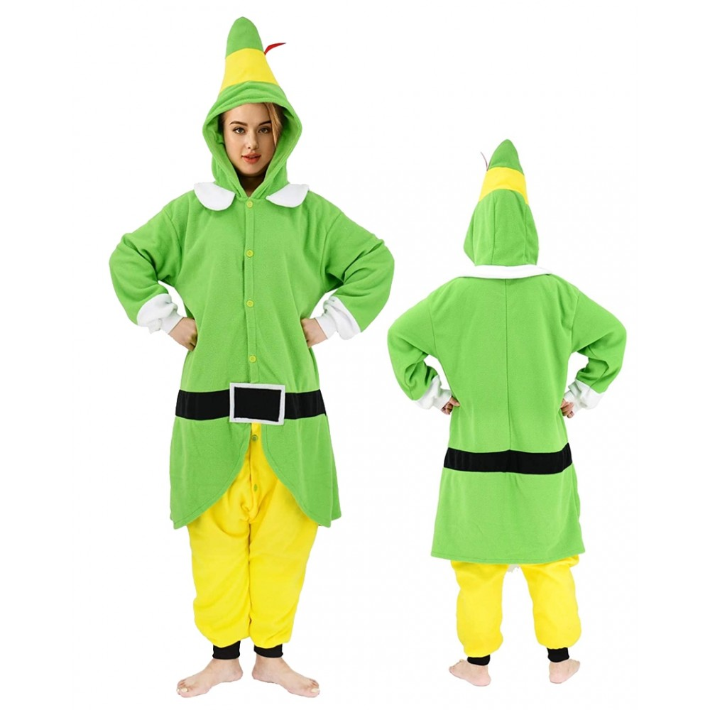 Womens and Mens Chirstmas Elf Onesie Pajamas for Adults