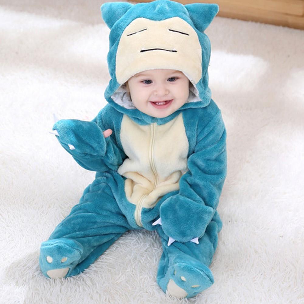 Toddler Pokemon Snorlax Onesie Pajamas Costume Outfit Baby Animal Cosutme